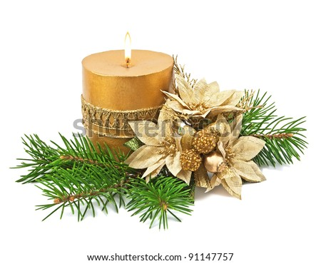 Christmas decoration with candles and poinsettia - stock photo