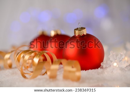 christmas decoration with christmas balls and snow