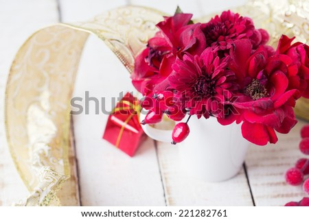 Christmas decoration with festive bouquet. Selective focus.