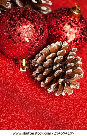 Christmas decoration with festive pinecone - stock photo