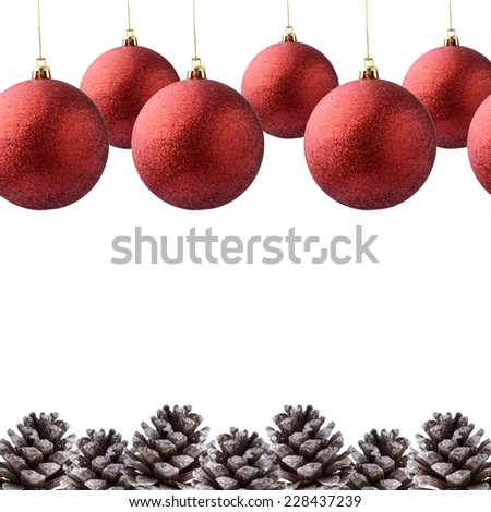 Christmas decoration with festive pinecone on white background - stock photo