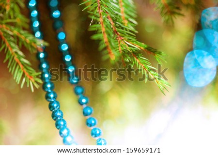 Christmas decoration with fir branch - stock photo