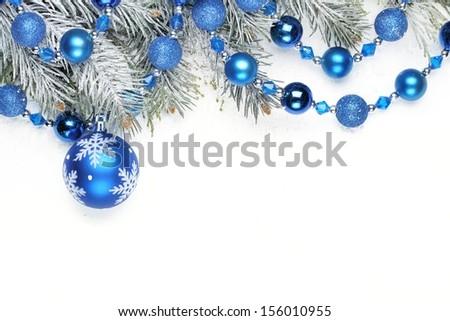 Christmas decoration with fir branch and Christmas balls - stock photo