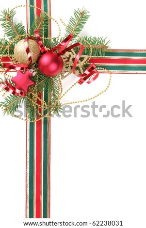 Christmas Decoration with fir branches,baubles and ribbon. - stock photo