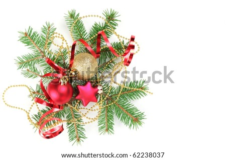 Christmas Decoration with fir branches,baubles,star and streamers,Isolated on white. - stock photo