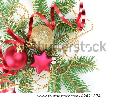 Christmas Decoration with fir branches,baubles,star and streamers,Isolated on white.