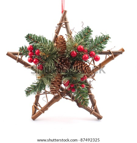 Christmas Decoration with fir branches,cones,star - stock photo