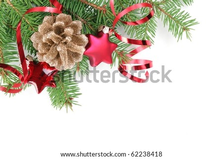 Christmas Decoration with fir branches,cones,star and streamers. - stock photo