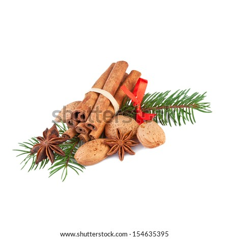 Christmas Decoration with fragrant Spices Isolated on White - stock photo