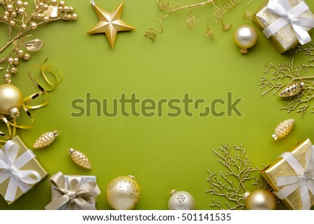 Christmas decoration with gift box,golden ball and star