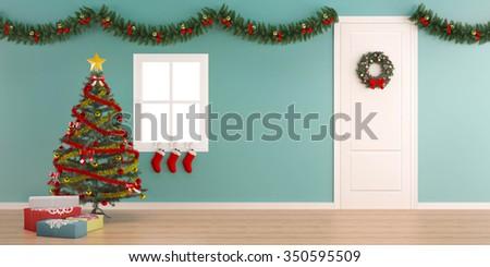 Christmas decoration with gift box-X'mas background - stock photo