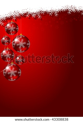 christmas decoration with glass balls and snowflakes
