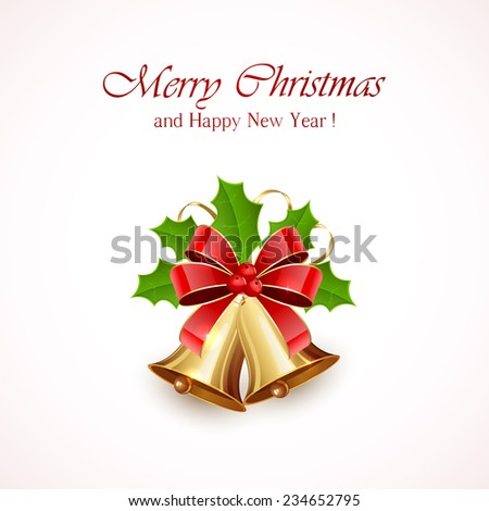 Christmas decoration with golden bells, red bow, tinsel and Holly berries on white background, illustration. - stock photo