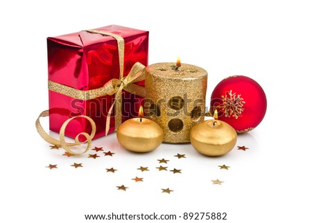 Christmas decoration with golden candle isolated on white background
