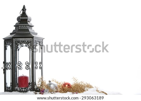 Christmas decoration with Golden Lantern, - stock photo