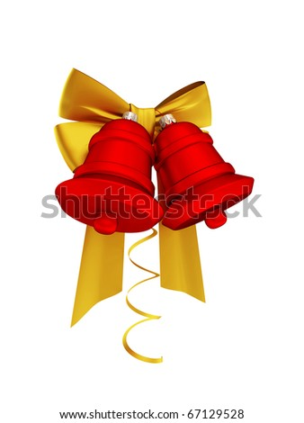 Christmas decoration with golden ribbons and red bells. Isolated on white. 3d rendered. - stock photo