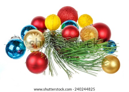 Christmas decoration with green pine or fir and many gifts for Christmas tree. Holiday decorations isolated on white background - stock photo