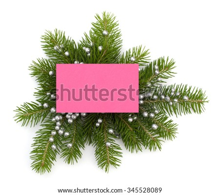 Christmas decoration with greeting card isolated on white background - stock photo