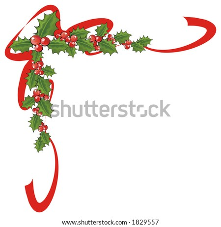 Christmas decoration with holly and ribbons - stock photo