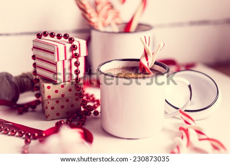 Christmas decoration with hot chocolate mug - stock photo