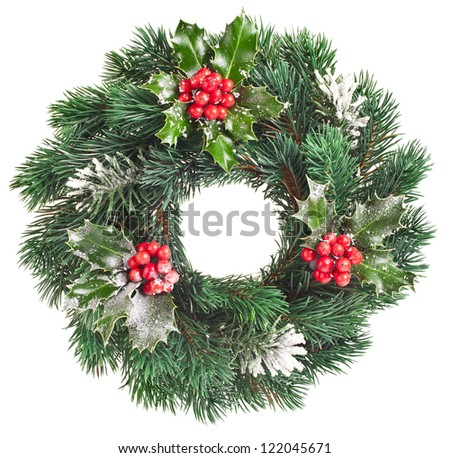 Christmas decoration with nature red berries isolated on white background - stock photo