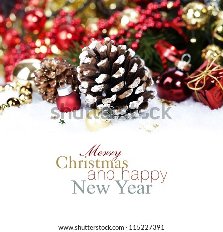 Christmas decoration with Pine Cone (with sample text) - stock photo