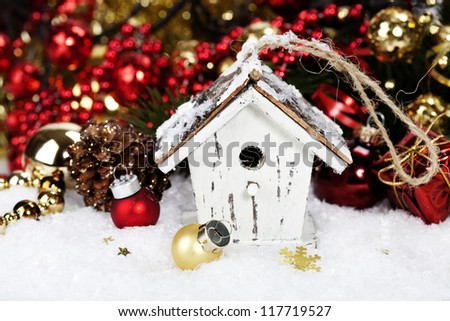 christmas decoration with rustic bird house - Bird House Christmas Decoration