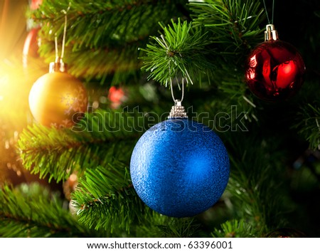 Christmas decoration with shiny glare - stock photo