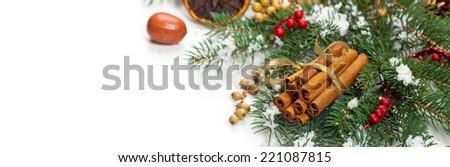 Christmas Decoration with snow. Panoramic image. - stock photo