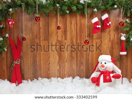 Christmas decoration with snowman - stock photo