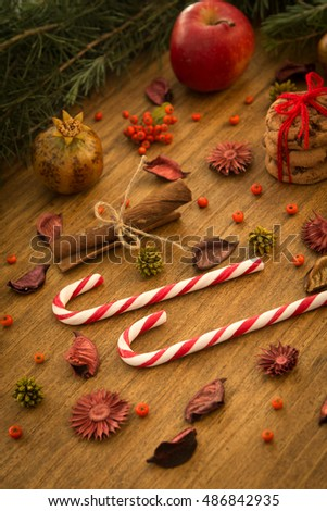 Christmas decoration with sweet. Candy canes and cookies