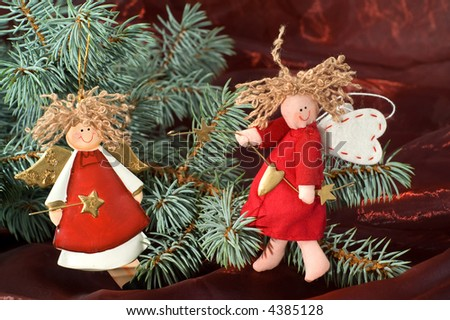 Christmas decoration with the angels - stock photo