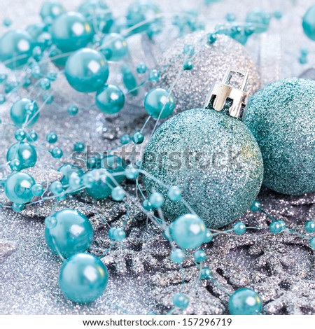 christmas decoration with turquoise baubles  - stock photo