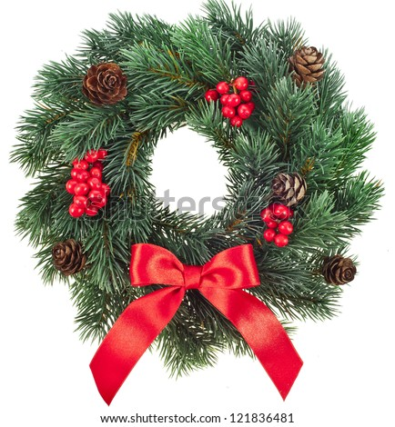 Christmas decoration wreath with red holly berries isolated on white background - stock photo