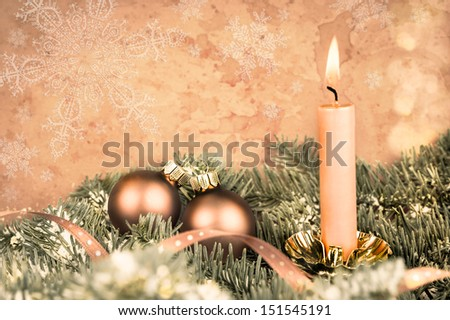Christmas decorations, aged photo, copy space - stock photo