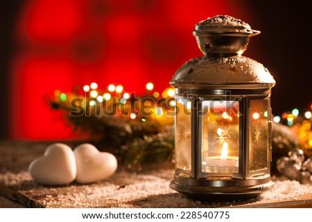 Christmas decorations and beautiful lantern - stock photo