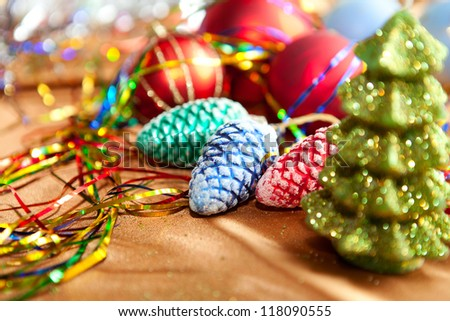 Christmas decorations and candles, close up - stock photo