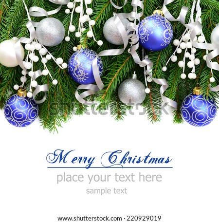 Christmas decorations and Christmas tree on a white background, greeting card