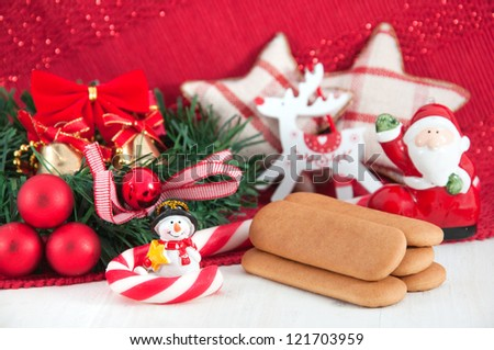 Christmas decorations and cookies concept - stock photo