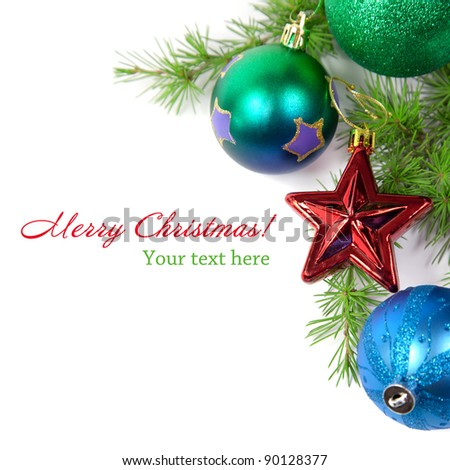 Christmas decorations and fir branch isolated on white background