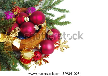 Christmas decorations and fir tree branch