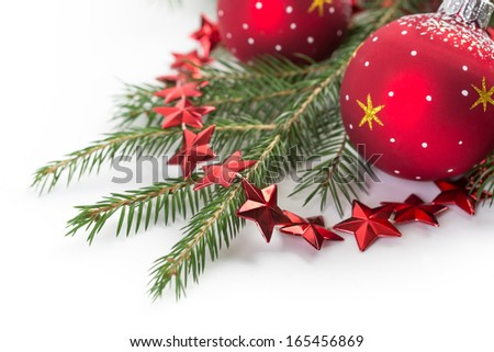 Christmas decorations and fir tree branches - stock photo