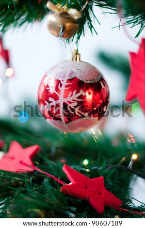Christmas decorations and garlands on the tree at Christmas - stock photo