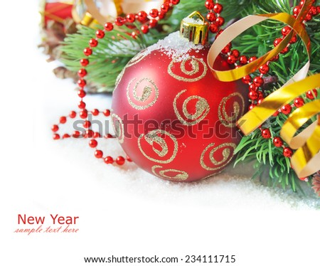 Christmas decorations and new year tree isolated on white background with sample text - stock photo