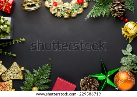 Christmas decorations and ornaments on table , View from above with copy space. - stock photo