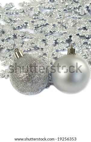 Christmas decorations background with copy space for text at the bottom