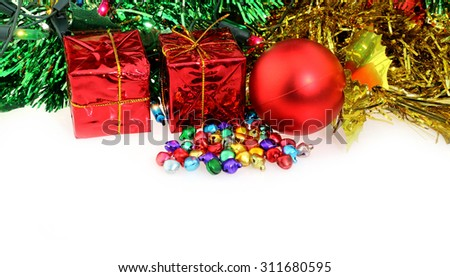 Christmas decorations balls and bells - stock photo