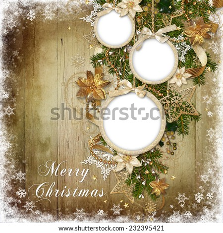 Christmas decorations, balls-frame on a wooden background - stock photo