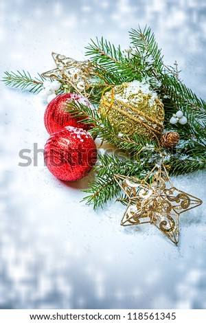 Christmas Decorations  - balls, stars, con on fir tree branch - stock photo
