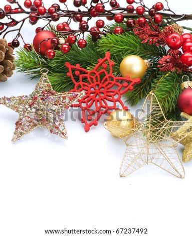 Christmas Decorations  border isolated on white - stock photo